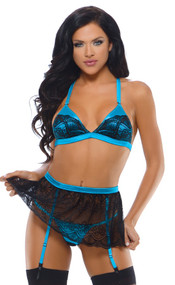Alyssa Lace Bra, Garter Skirt And Panty
