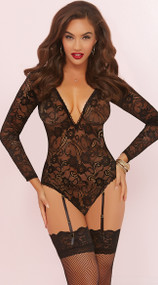 Floral Lace Long Sleeve Teddy