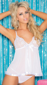 White Two Piece Sequin Embroidered Sheer Net Babydoll Set