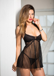 Stretch Lace & Pleated Net Baby Doll