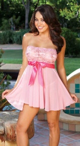 Pink Tie-Front Stretch Lace And Mesh Babydoll