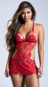 Red Eyelash Lace Apron Babydoll Set