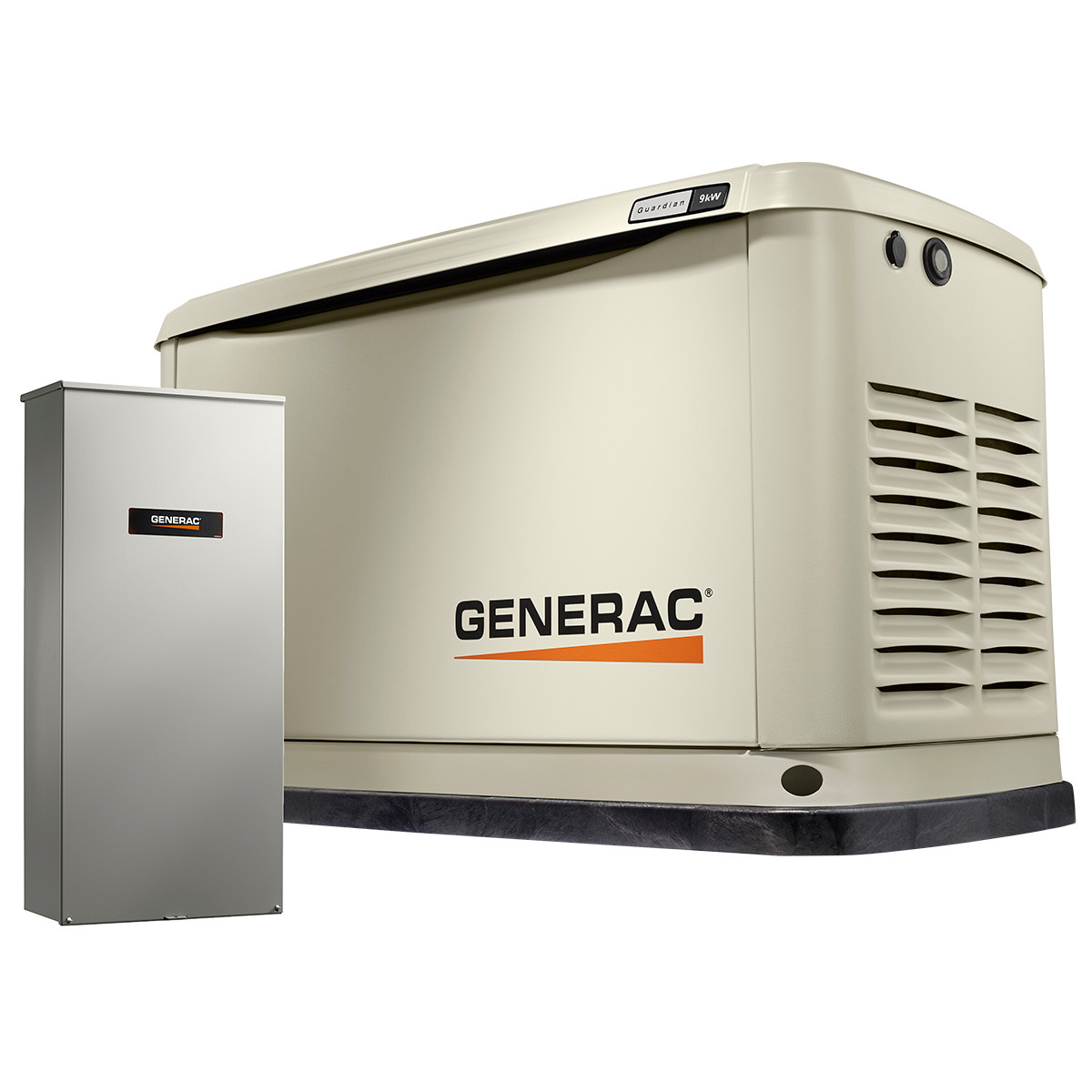 generac guardian 7030 9kw generator with wi-fi & 100a 16-circuit transfer  switch