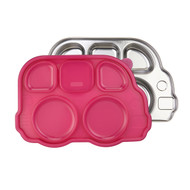 Stainless Divided Bus Plate with Lid / Pink