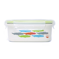 Keepin' Fresh Stainless Bento Snack or Lunch Box with Lid for Kids and Toddlers  - Alligator / Green / 15 oz