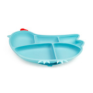 Silicone Suction Divided Plate - Chicken/Blue