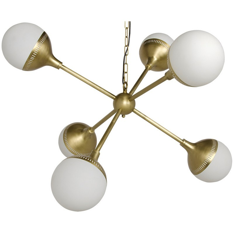 Noir Zoe Sputnik Chandelier -Antique Brass Finish
