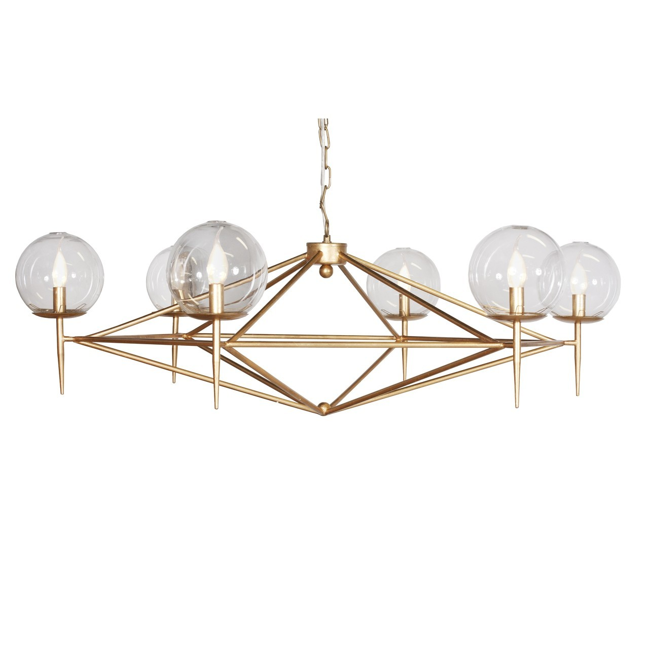 Worlds Away Rowan Chandelier with Hand Blown Glass Globes