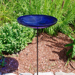 Cobalt Blue Crackle Bowl w/ Stand