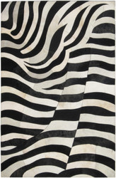 Black/Cream White Cow Hide Rug