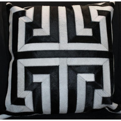 Black and White Greek Key Pattern Cow Hide Pillow