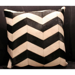 Black/White Chevron Stripe Cow Hide Pillow