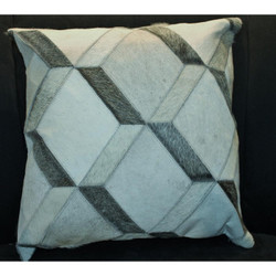 Grey/Cream 3D Block Cow Hide Pillow