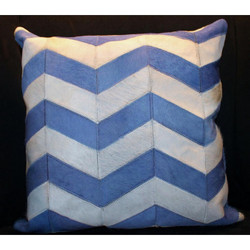 Blue/White Chevron Stripe Cow Hide Pillow