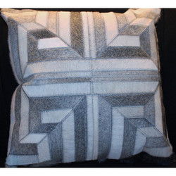 Grey/White Greek Key Pattern Cow Hide Pillow