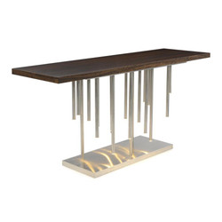 Illuminated Console Table in Stainless Steel