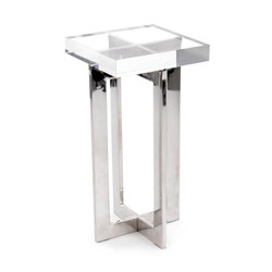 Polished Nickel and Crystal Martini Table