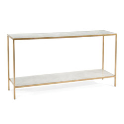 Austin A. James' New Orleans White Sofa Table with Shelf