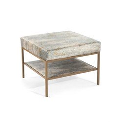 Gold Two-Tier Metal Base Ottoman - Small