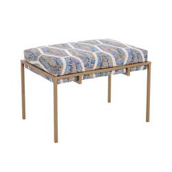 Metal Gold Upholstered Bench - Short - Trellis Fabric
