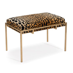 Metal Gold Upholstered Bench - Short - Lepord Fabric