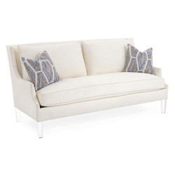 Scoop-Arm Sofa with Toss Pillows - Cream
