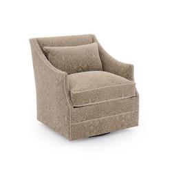Mid-Sized Occasional Swivel Armchair - Beige Velvet