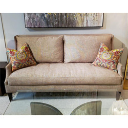 Scoop-Arm Sofa with Toss Pillows - Beige