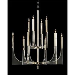 Acrylic and Nickel Ten-Light Chandelier