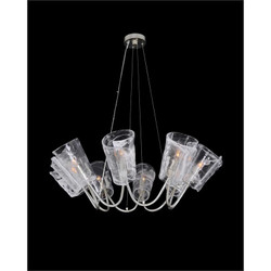 Dulcet: Eight-Light Chandelier with Glass Formed Shades