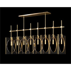 Genesis: Acrylic Eight-Light Pendant in Antique Brass