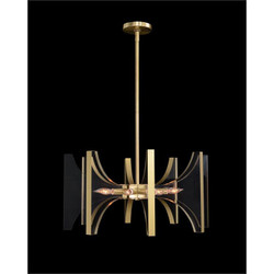 Genesis: Acrylic and Antique Brass Eight-Light Chandelier