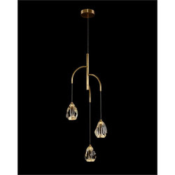 Faceted Chunk Crystal Three-Light Chandelier