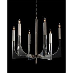 Acrylic and Nickel Six-Light Chandelier - Small