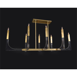 Genesis: Acrylic Eight-Light Chandelier with Antique Brass