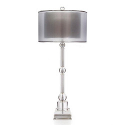 Crystal and Nickel Buffet Lamp