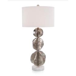 Three Flowing Wave Spheres Nickel Table Lamp