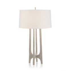 Textured Arc Table Lamp in Nickel