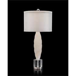 Alabaster Table Lamp with Crystal Base - Ovoid