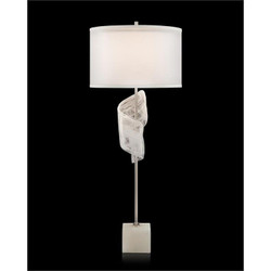 Furls of White Buffet Lamp - With Shade