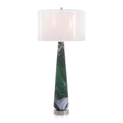 Emerald Green Marbled Buffet Lamp