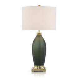Emerald Green Etched Glass Table Lamp