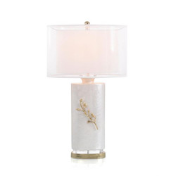 Shimmering White with Cherry Blossom Table Lamp