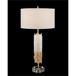 Gold-Leaf Selenite Table Lamp