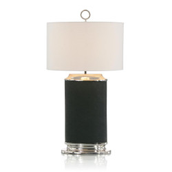Forest Green Leather Table Lamp