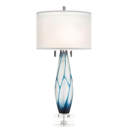 Etched Glass Geometric Table Lamp