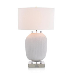 Chiseled White Glass Table Lamp