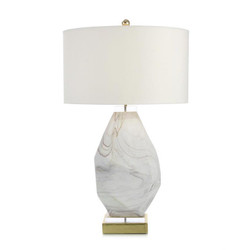 Wisps of Smoke on White Glass Table Lamp