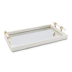Mirrored Tray with Alabaster Handles