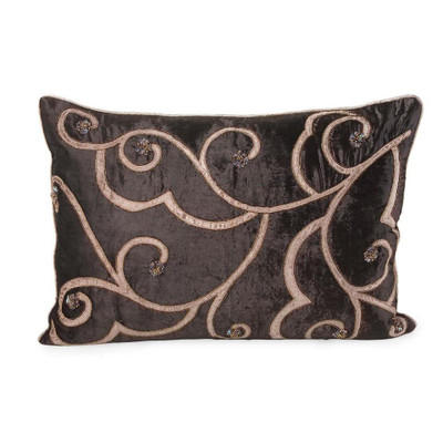 Chocolate With Heavy Tan Embroidery Pillow